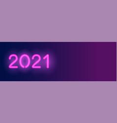 2021 neon long banner violet neon numbers vector