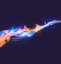 Abstract background with neon lines and triangle vector
