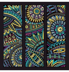 abstract ethnic pattern cards set vector image