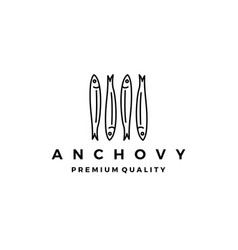 Anchovy fish logo icon seafood vector