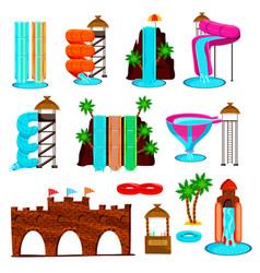 aqua park flat icons set vector image