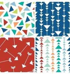 Arrows and triangles seamless pattern background vector image