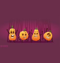 artoon happy pumpkin vector image