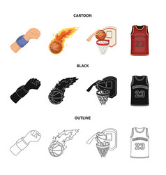 basketball and attributes cartoonblackoutline vector image
