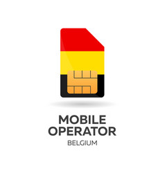 belgium mobile operator sim card with flag vector image
