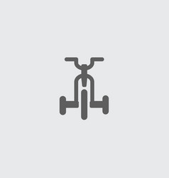 Black flat child folding bike icon vector