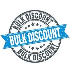 Bulk discount blue round grunge vintage ribbon vector