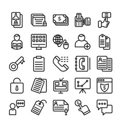 business and office line icons 14 vector image