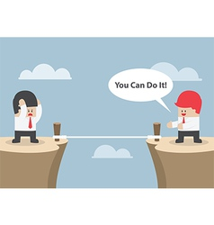 Businessman motivate his friend to cross the cliff vector