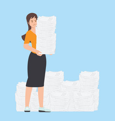 busy business woman with stack of office paper vector image