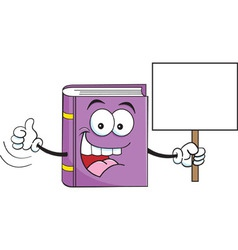 Cartoon Book Holding a Sign vector image