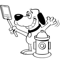 Cartoon dog taking a selfie with a fire hydrant vector