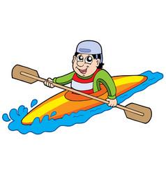 cartoon kayaker vector image