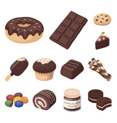 Chocolate dessert cartoon icons in set collection vector