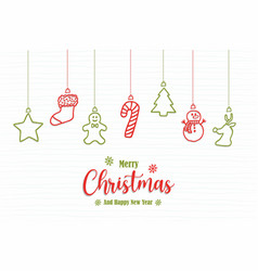 christmas new year holiday ornament doodle card vector image