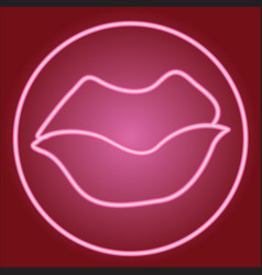 closed lips in the neon circle vector image
