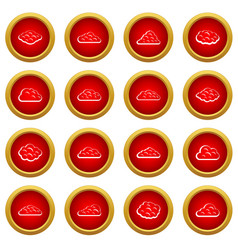 Clouds icon red circle set vector