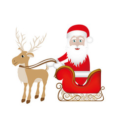 colorful silhouette of reindeer with santa claus vector image