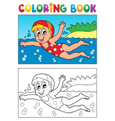 Coloring book swimming theme 2 vector