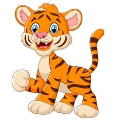 Cute baby tiger cartoon waving vector