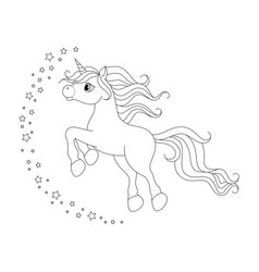 cute cartoon unicorn black and white vector image