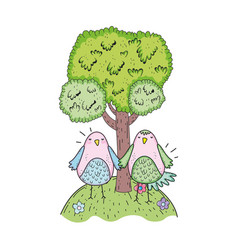 cute little birds couple in the field lovely vector image