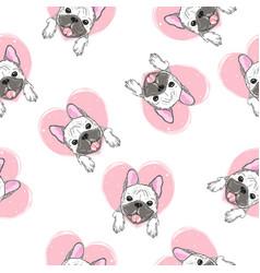 Cute pug pattern vector