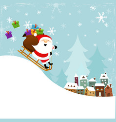 cute santa sledding to town vector image