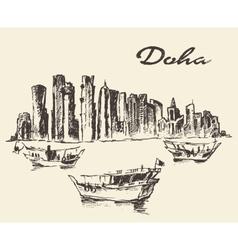 Doha skyline Dhow Qatar drawn sketch vector image