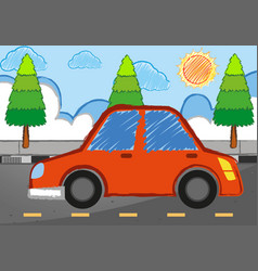 Doodle art with red car on street vector