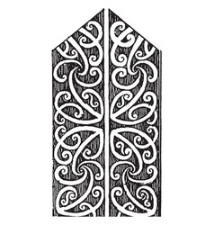 Eaves board detail of wood carving on painted vector
