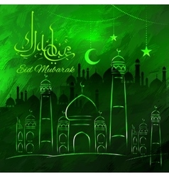 Eid Mubarak greetings in Arabic freehand with vector image