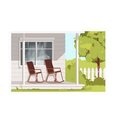 Empty armchairs on villa patio semi flat vector
