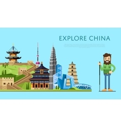 Explore China banner with smiling tourist vector