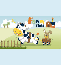 farm field with funny animals cartoon vector image