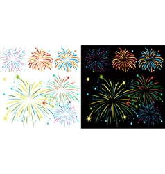Fireworks on black and white background vector