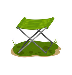Folding camp chair fishing green chair vector