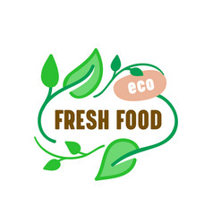 fresh eco food farm market banner with green vector image