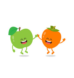 funny an apple and the persimmon vector image