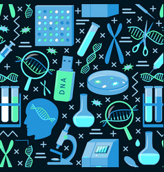 genome research seamless background in flat style vector image