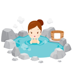 Girl Relaxing In Hot Spring vector