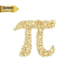 Gold glitter icon of pi isolated on vector