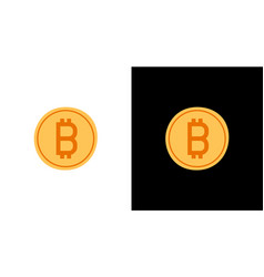 golden bitcoin icon isolated on white and black vector image
