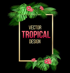 golden frame on with tropical leaves vector image
