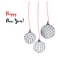 greeting card with christmas balls hand vector image
