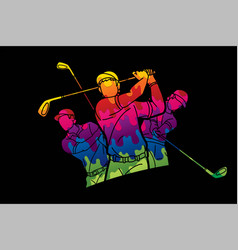 Group golf players action cartoon sport graphic vector