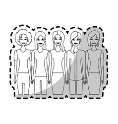 Group of young beautiful women icon image vector