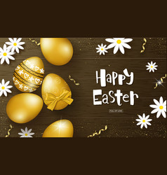 happy easter background with golden eggs vector image