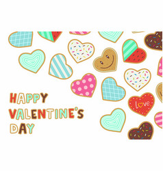 Happy valentines day background with heart shaped vector