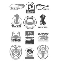 Icons for seafood fish food restaurant menu vector